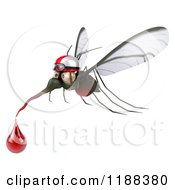 Clipart Of A 3d Mosquito Wearing A Helmet And Goggles Over A Sign With A Blood Drop Royalty Free CGI Illustration