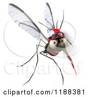 Clipart Of A 3d Mosquito Wearing A Helmet And Goggles By A Sign Royalty Free CGI Illustration