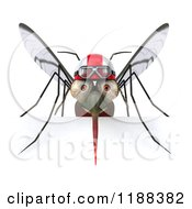 Clipart Of A 3d Mosquito Wearing A Helmet And Goggles Over A Sign Royalty Free CGI Illustration