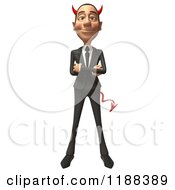 Clipart Of A 3d Con Artist Business Man With Horns And Folded Arms Royalty Free CGI Illustration