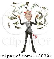 Clipart Of A 3d Con Artist Business Man With Horns And Cash Royalty Free CGI Illustration