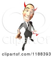 Clipart Of A 3d Con Artist Business Man With Horns Pointing Outwards Royalty Free CGI Illustration