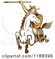 Clipart Of A Retro Norse Valkyrie Warrior With A Spear On Horseback Royalty Free Vector Illustration by patrimonio