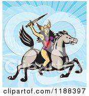 Clipart Of A Retro Norse Valkyrie Warrior With A Spear On Horseback Against A Sky Royalty Free Vector Illustration