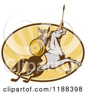 Clipart Of A Retro Norse Valkyrie Warrior With A Spear On Horseback Over An Oval Of Rays 5 Royalty Free Vector Illustration