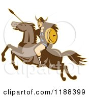 Clipart Of A Retro Norse Valkyrie Warrior With A Spear On Horseback 3 Royalty Free Vector Illustration