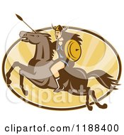 Clipart Of A Retro Norse Valkyrie Warrior With A Spear On Horseback Over An Oval Of Rays 3 Royalty Free Vector Illustration
