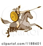 Clipart Of A Retro Norse Valkyrie Warrior With A Spear On Horseback 5 Royalty Free Vector Illustration