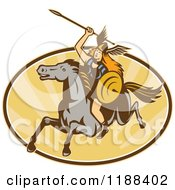 Clipart Of A Retro Norse Valkyrie Warrior With A Spear On Horseback Over An Oval Of Rays 2 Royalty Free Vector Illustration