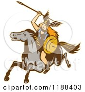 Clipart Of A Retro Norse Valkyrie Warrior With A Spear On Horseback 2 Royalty Free Vector Illustration