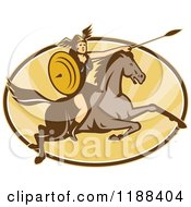 Clipart Of A Retro Norse Valkyrie Warrior With A Spear On Horseback Over An Oval Of Rays 4 Royalty Free Vector Illustration