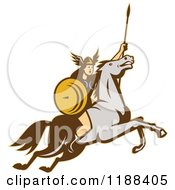 Clipart Of A Retro Norse Valkyrie Warrior With A Spear On Horseback 4 Royalty Free Vector Illustration by patrimonio