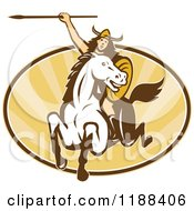 Clipart Of A Retro Norse Valkyrie Warrior With A Spear On Horseback Over An Oval Of Rays Royalty Free Vector Illustration