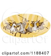 Clipart Of Retro Norse Valkyrie Warriors With Spears On Horseback In An Oval Of Rays Royalty Free Vector Illustration by patrimonio