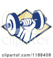 Clipart Of A Retro Hand Lifting A Dumbbell Over A Diamond Of Sun Rays Royalty Free Vector Illustration