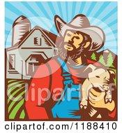 Retro Woodcut Male Pig Farmer Holding A Piglet Against A Farm