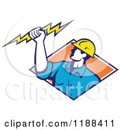 Clipart Of A Retro Male Electrician Holdnig A Bolt Over A Diamond Of Orange Rays Royalty Free Vector Illustration by patrimonio