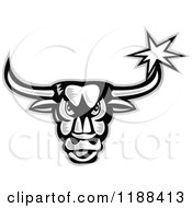 Clipart Of A Retro Grayscale Angry Bull With A Star On His Horn Royalty Free Vector Illustration by patrimonio