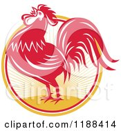 Clipart Of A Retro Red Crowing Rooster Over A Sunrise Circle Royalty Free Vector Illustration