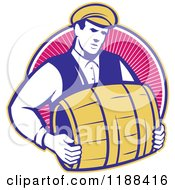 Clipart Of A Retro Bartender Carrying A Beer Keg Barrel Over Rays Royalty Free Vector Illustration by patrimonio