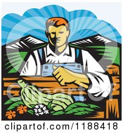 Clipart Of A Retro Woodcut Male Organic Farmer With Produce Behind A Fence Royalty Free Vector Illustration