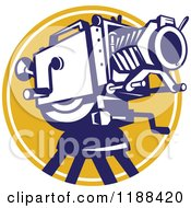 Clipart Of A Retro Movie Camera Over A Yellow Circle Royalty Free Vector Illustration