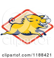 Clipart Of A Retro Razorback Boar Leaping Over A Diamond Royalty Free Vector Illustration