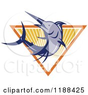 Clipart Of A Retro Blue Marlin Fish Leaping Over A Triangle Of Rays Royalty Free Vector Illustration