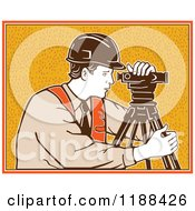 Clipart Of A Retro Surveyor Using A Theodolite Over Orange Royalty Free Vector Illustration by patrimonio