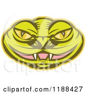 Clipart Of A Green Viper Snake Head With A Slightly Open Mouth Royalty Free Vector Illustration