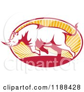 Clipart Of A Retro Charging Rhino Over An Oval Of Sun Rays Royalty Free Vector Illustration by patrimonio