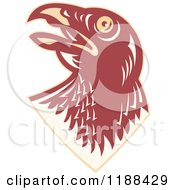 Clipart Of A Retro Hawk Head Looking Up Royalty Free Vector Illustration
