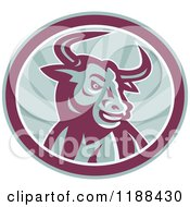 Clipart Of A Retro Angry Texas Longhorn Bull In A Circle Of Rays Royalty Free Vector Illustration