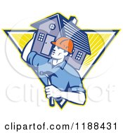 Clipart Of A Retro Home Builder With A Hammer Carrying A House Over A Triangle Of Rays Royalty Free Vector Illustration
