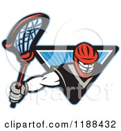 Clipart Of A Retro Lacrosse Player Emerging From A Blue Triangle Of Rays Royalty Free Vector Illustration