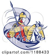 Clipart Of A Retro Knight On Horseback With A Ribbon Flag Royalty Free Vector Illustration