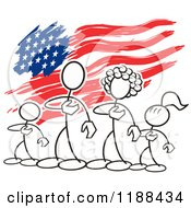 Cartoon Of A Patriotic American Stickler Family Over An American Flag Royalty Free Vector Clipart by Johnny Sajem