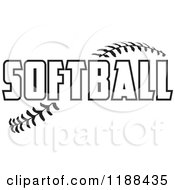 Cartoon Of Black And White Softball Text Over Stitches Royalty Free Vector Clipart
