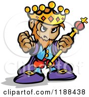 Cartoon Of A Tough King Holding Up A Staff And Fist Royalty Free Vector Clipart