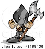 Cartoon Of A Tough Executioner Holding Up An Axe And Fist Royalty Free Vector Clipart