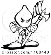 Black And White Tough Executioner Holding Up An Axe And Fist