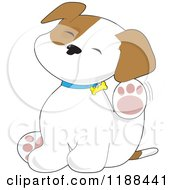 Cartoon Of A Cute Puppy Scratching An Itch Behind His Ear Royalty Free Vector Clipart