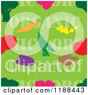 Clipart Of A Seamless Green Organic Produce Background With Text And Food Royalty Free Vector Illustration