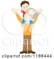 Cartoon Of A Grandson On His Grandfathers Shoulders Royalty Free Vector Clipart