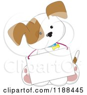 Cartoon Of A Cute Puppy Wearing A Message Board Sign Around His Neck Royalty Free Vector Clipart
