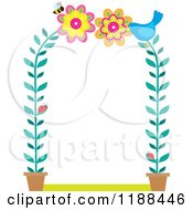 Cartoon Of A Potted Flower Arch Frame With Ladybugs A Bird And Bee Royalty Free Vector Clipart