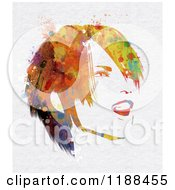 Clipart Of A Watercolor Painted Happy Woman Royalty Free CGI Illustration by KJ Pargeter