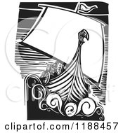 Clipart Of A Black And White Viking Longship Boat At Sea Woodcut Royalty Free Vector Illustration