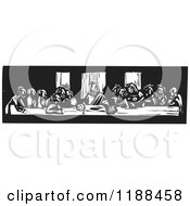 Clipart Of The Last Supper Black And White Woodcut Royalty Free Vector Illustration by xunantunich