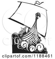 Clipart Of A Black And White Viking Longship Boat Woodcut Royalty Free Vector Illustration